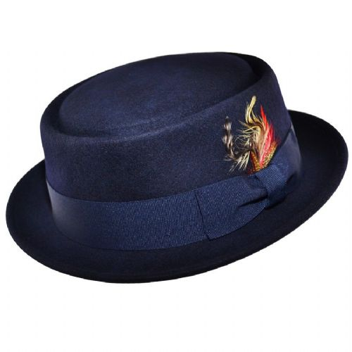 Navy Pork Pie Hat Wool Felt